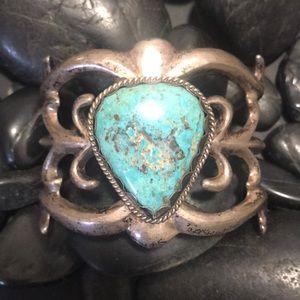 Vintage Sandcast Sterling Turquoise Huge Cuff